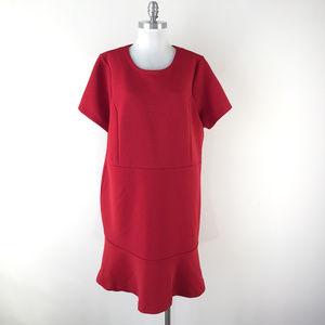 Michael Kors 20W Red Ribbed Dress Flounce